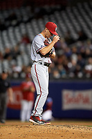 Syracuse Chiefs relief pitcher Trevor Gott (15) during a game against the Buffalo Bisons on July 6, 2018 at Coca-Cola Field in Buffalo, New York.  Buffalo defeated Syracuse 6-4.  (Mike Janes/Four Seam Images)