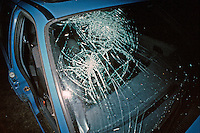 Broken windscreen in a car after a road traffic accident..©shoutpictures.com..john@shoutpictures.com