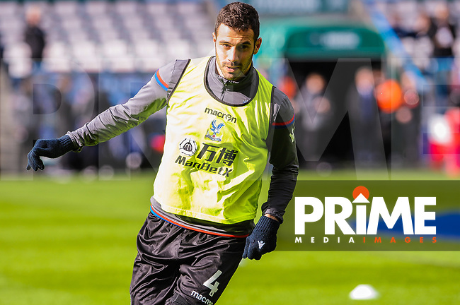 Crystal Palace's midfielder Luka Milivojevic (4) during the EPL - Premier League match between Huddersfield Town and Crystal Palace at the John Smith's Stadium, Huddersfield, England on 17 March 2018. Photo by Stephen Buckley / PRiME Media Images.