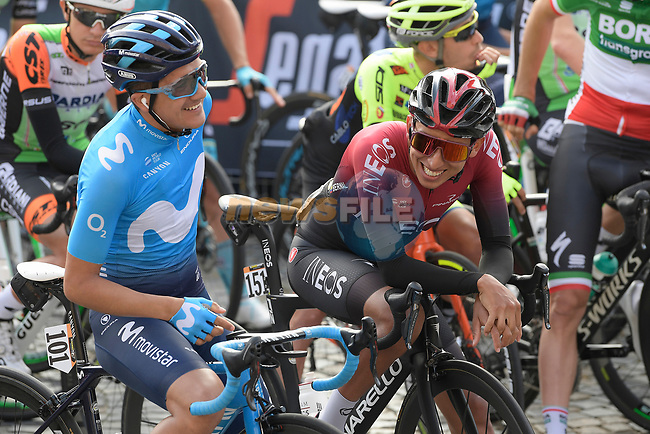 Giro winner Richard Carapaz (ECU) Movistar Team and Tour winner Egan Bernal (COL) Team Ineos chat before the start of the 103rd edition of GranPiemonte 2019 running 183km from Aglie to Santuario di Oropa (Biella), Italy. 10th Octobre 2019. <br /> Picture: Fabio Ferrari/LaPresse   Cyclefile<br /> <br /> All photos usage must carry mandatory copyright credit (© Cyclefile   LaPresse/Fabio Ferrari)