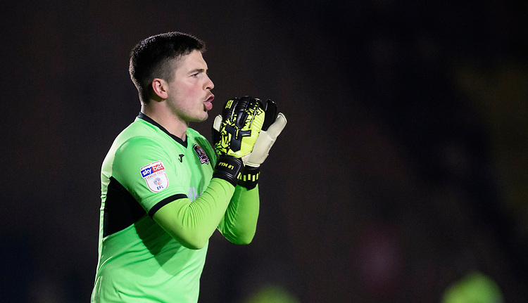 Exeter City's Christy Pym<br /> <br /> Photographer Chris Vaughan/CameraSport<br /> <br /> The EFL Sky Bet League Two - Lincoln City v Exeter City - Tuesday 26th February 2019 - Sincil Bank - Lincoln<br /> <br /> World Copyright © 2019 CameraSport. All rights reserved. 43 Linden Ave. Countesthorpe. Leicester. England. LE8 5PG - Tel: +44 (0) 116 277 4147 - admin@camerasport.com - www.camerasport.com