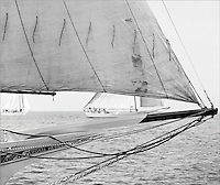 "Chesapeake Bay Skipjack Rosie Parks sails to victory in the 1967 Deal Island Skipjack race in this digitally restored photograph from the Limited Edition,Fine Art ""Skipjack Sunday"" collection."
