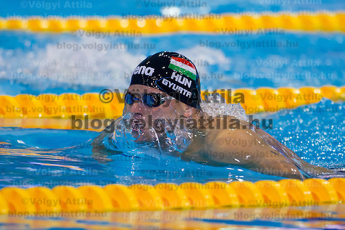 Daniel Gyurta of Hungary competes in the preliminary of Men's 200m Breaststroke of the 31th European Swimming Championships in Debrecen, Hungary on May 23, 2012. ATTILA VOLGYI