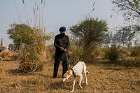 FARIDKOT, PUNJAB, INDIA - JANUARY 05, 2016: A man walks a greyhound during a greyhound race meet on January 5, 2016 in Faridkot, India. <br /> Daniel Berehulak for The New York Times
