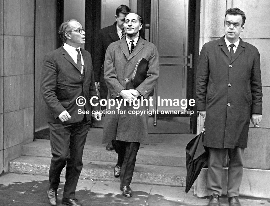 N Ireland Prime Minister Terence O'Neill, leaving the BBC's Broadcasting House, Belfast, after recording his landmark Ulster Stands at the Crossroads speech. He is accompanied by Waldo Maguire, BBC Regional Controller, N Ireland.  Also in the photo is Leo McBrien, RUC. His rank not know at time of photo but he went on to become a Chief Inspector. On 17th October 1971 then a Detective Sergeant he survived being shot in the head at point blank range while his vehicle was stopped at traffic lights. 196812090298a<br /> <br /> Copyright Image from Victor Patterson, 54 Dorchester Park, Belfast, UK, BT9 6RJ<br /> <br /> t: +44 28 90661296<br /> m: +44 7802 353836<br /> vm: +44 20 88167153<br /> e1: victorpatterson@me.com<br /> e2: victorpatterson@gmail.com<br /> <br /> For my Terms and Conditions of Use go to www.victorpatterson.com