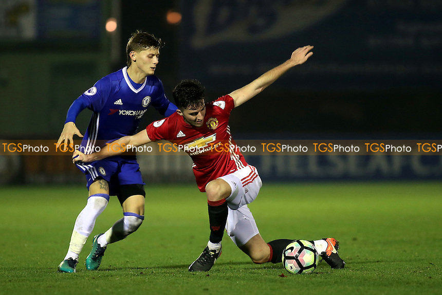 Sean Goss of Manchester United shields the ball from Chelsea's Kyle Scott during Chelsea Under-23 vs Manchester United Under-23, Premier League 2 Football at the EBB Stadium on 9th December 2016