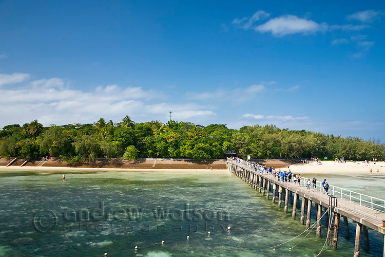 View along jetty at Green Island - a coral cay off the coast of Cairns.  Great Barrier Reef Marine Park, Queensland, Australia