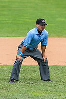 Base umpire Ricardo Estrada during a Midwest League game between the Beloit Snappers and the Quad Cities River Bandits on June 18, 2017 at Pohlman Field in Beloit, Wisconsin.  Quad Cities defeated Beloit 5-3. (Brad Krause/Krause Sports Photography)