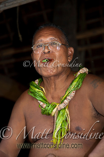 Chief Chewing Betel, Yap Micronesia<br /> (Photo by Matt Considine - Images of Asia Collection) (Matt Considine)