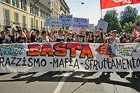 - Milano 9 Giugno 2018, manifestazione di protesta dei migranti per l'assassinio nella piana di Gioia Tauro, in Calabria, di Soumaila Sacko, immigrato africano dal Mali, bracciante agricolo e sindacalista del sindacato indipendente USB<br /> <br /> - Milan, June 9, 2018, protest demonstration by migrants for the murder in the plain of Gioia Tauro, in Calabria, of Soumaila Sacko, African immigrant from Mali, agricultural worker and trade unionist of the independent union USB