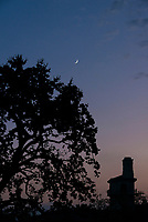 Crescent moon, tree and the bell tower of the Johnson Student Center (JSC) Aug. 24, 2017.<br />