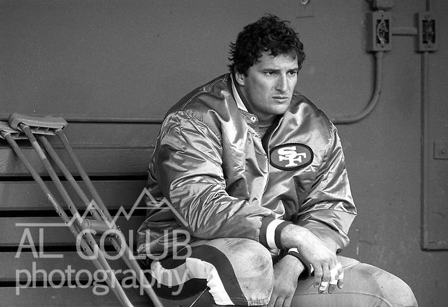 San Francisco 49ers vs.  Atlanta Falcons  at Candlestick Park Sunday, November 23, 1986..49ers Beat Falcons 20-0.San Francisco 49ers Defensive End Jeff Stover (72) was injured...