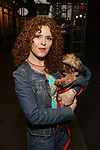 Bernadette Peters, with a dog from The Humane Society of New York, filming a promo for the Broadway Barks 2019 Announcement at Shubert Alley on June 20, 2019 in New York City.