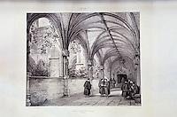 Europe/France/Midi-Pyrénées/46/Lot/Cahors: La bibliothèque - Vieille lithographie du cloitre de la cathédrale
