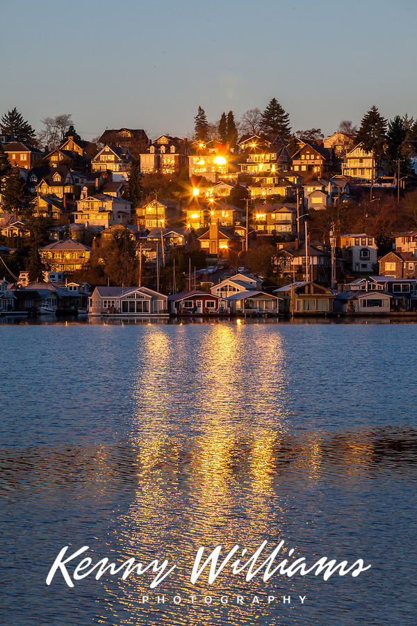 Sunrise Reflected off Lakeside Homes, Seattle, WA, USA.