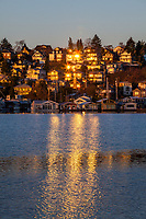 Sunrise Reflected off Lakeside Homes, Seattle, WA, USA.