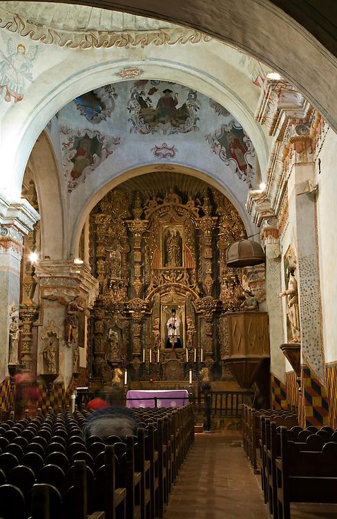 Interior view of San Xavier del Bac Mission near Tucson, Arizona