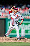 20 May 2018: Washington Nationals pitcher Shawn Kelley on the mound against the Los Angeles Dodgers at Nationals Park in Washington, DC. The Dodgers defeated the Nationals 7-2, sweeping their 3-game series. Mandatory Credit: Ed Wolfstein Photo *** RAW (NEF) Image File Available ***