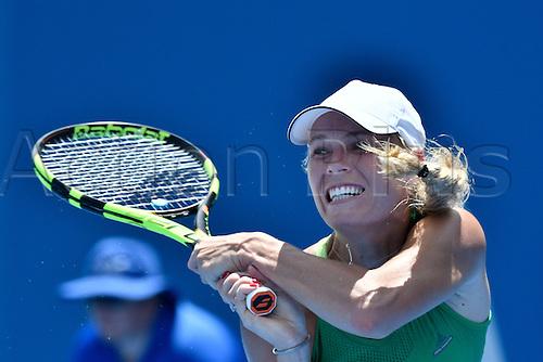 11.01.17 Sydney Olympic Park, Sydney, Australia. Caroline Wozniacki (DEN) in action against Barbora Strycova (CZE) during their match on day 4 at the Apia International Sydney.