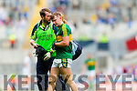 James O'Donoghue, Kerry is injured against Kildare in the All Ireland Quarter Final at Croke Park on Sunday.