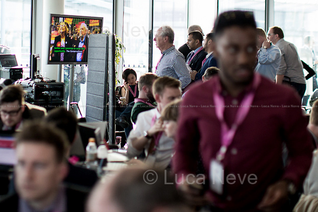 Jeremy Corbyn on TV.<br /> <br /> London, 06-07/05/2016. The morning after the London Mayoral Election, press began to congregate on the ninth floor of City Hall to report on the results and the official announcement of the new Mayor of London. At 15:21, the press team of City Hall announced the results by constituency. At just gone 17:30, the press videographers and photographers were escorted downstairs to the Chamber (second floor) to wait for the official final announcement. The press waited, however, almost five hours for this to happen. At 22:11, the Greater London Returning Officer, Jeff Jacobs, approached the stage and presented the new Greater London Assembly members. And, finally, at 12:18 on the 7th of May (just under nine hours after the first City Hall press announcement), Mr Jacobs officially announced the new Mayor of London, Sadiq Khan for the Labour Party. An official statement (that you can find at https://londonelects.org.uk/news-centre/news-listing/election-count-delay-explained and in the PDF attached to this story) was released on the 7th of May to explain the delay - which was previously described as being due to &quot;minor discrepancies in Mayoral figures&quot;. <br /> For more information, official statements, the results of the Mayoral Election and links for the London Assembly Members Election Results please find the PDF attached at the beginning of the story.<br />    <br /> London Mayoral Election 2016 Results:<br /> (Sources London Elects &amp; Wikipedia)<br /> https://www.londonelects.org.uk/sites/default/files/Part%201%20Election%20of%20the%20London%20Mayor.pdf <br /> https://en.wikipedia.org/wiki/London_mayoral_election,_2016<br /> <br /> London Assembly Members Election 2016 Results:<br /> (Sources London Elects &amp; Wikipedia)<br /> https://www.londonelects.org.uk/sites/default/files/London-wide%20Assembly%20Member%20results%202016.pdf<br /> https://en.wikipedia.org/wiki/London_Assembly_election,_2016