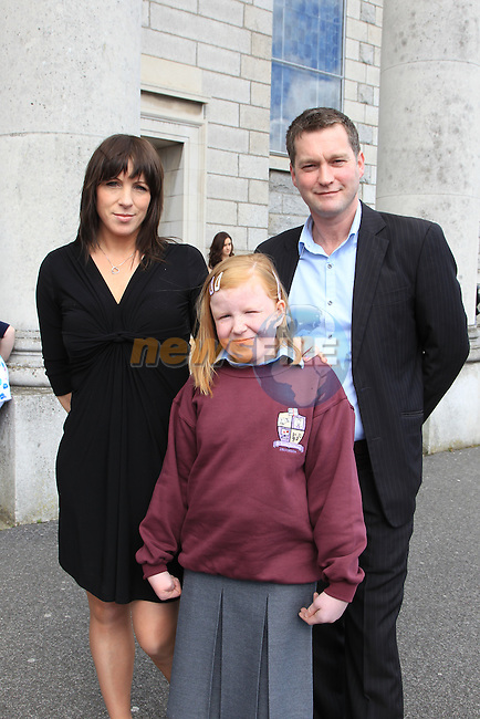 Shannon Bellew, Judith Bellew and Francis Dixon.at confirmation in Our Lady of Lourdes Church..Picture  www.newsfile.ie..