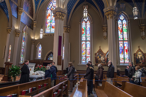 Mar. 3, 2015; Mourners pay their final respects to President Emeritus Rev. Theodore M. Hesburgh during the visitation in the Basilica of the Sacred Heart. (Photo by Barbara Johnston/University Photographer)