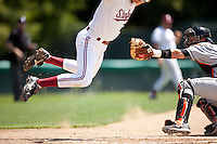 STANFORD, CA - April 17, 2011: Stephen Piscotty of Stanford baseball avoids the tag at home for Stanford's first run during Stanford's game against Oregon State at Sunken Diamond. Stanford lost 6-4.