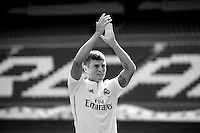 Toni Kroos during the official presentation as new player of Real Madrid football club in Santiago Bernabeu stadium in Madrid, Spain. July 17, 2014. (ALTERPHOTOS/Caro Marin)(EDITORS NOTE: This image has been converted to black and white)