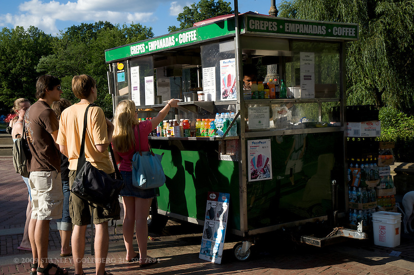 Park Visitors Buy Food at Central Park Concession Stand