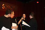 Cast - Gerardo Gudino, Eric Michael Gillett, America Olivo, Lea DeLaria at A Benefit reading of Flutter By's which is presented by Smoke Jazz Club on January 8, 2012 with proceeds donated to Broadway Cares Equity Fights Aids.  (Photo by Sue Coflin/Max Photos)