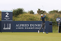 Joakim Lagergren (SWE) on the 2nd tee during Round 2 of the Alfred Dunhill Links Championship 2019 at Kingbarns Golf CLub, Fife, Scotland. 27/09/2019.<br /> Picture Thos Caffrey / Golffile.ie<br /> <br /> All photo usage must carry mandatory copyright credit (© Golffile | Thos Caffrey)