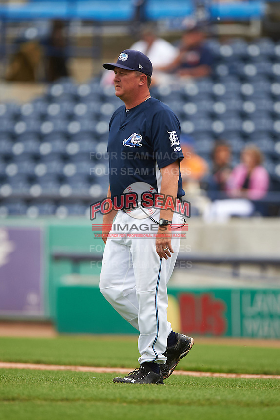 West Michigan Whitecaps pitching coach Mark Johnson (37) walks to the mound for a visit during a game against the Cedar Rapids Kernels on June 7, 2015 at Fifth Third Ballpark in Comstock Park, Michigan.  West Michigan defeated Cedar Rapids 6-2.  (Mike Janes/Four Seam Images)