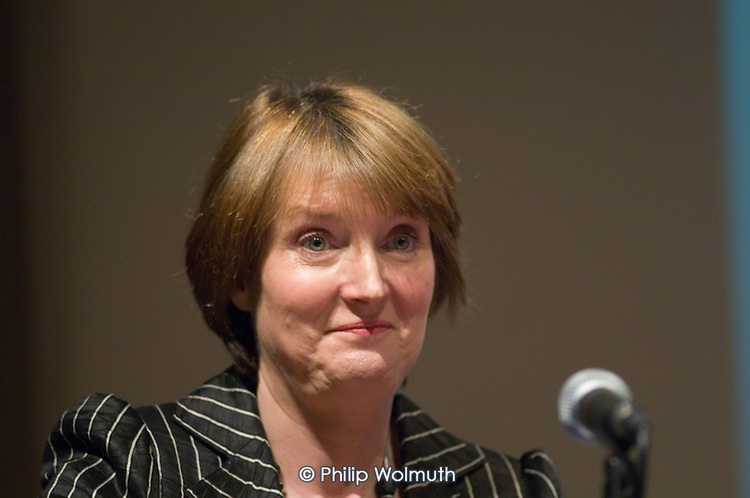Harriet Harman MP speaks at a Fabian Society hustings meeting for candidates for the deputy leadership of the Labour Party at the Institute of Education, London.