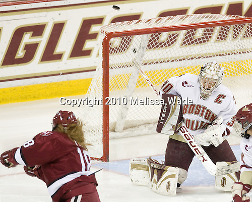 Lyndsey Fry (Harvard - 18), Molly Schaus (BC - 30) - The Boston College Eagles defeated the visiting Harvard University Crimson 6-2 on Sunday, December 5, 2010, at Conte Forum in Chestnut Hill, Massachusetts.