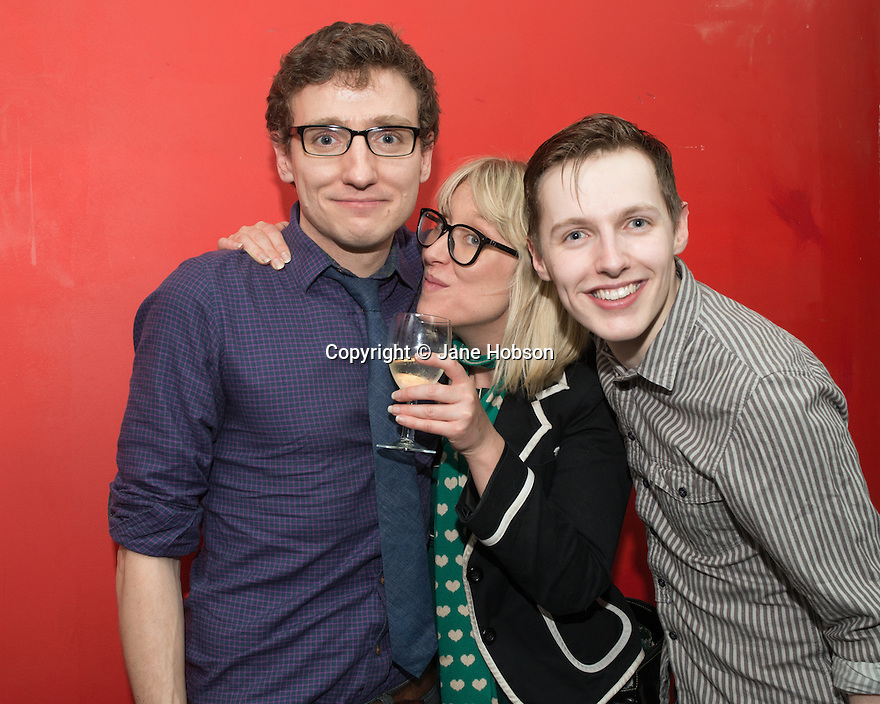 London, UK. 24.02.2014. Sam Buntrock (director), Gwyneth Herbert (music and lyrics), and Max Gallagher (Frank and Mrs P company), at the after party for press night of The A to Z of Mrs P, which premieres at Southwark Playhouse. © Jane Hobson.