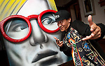 Artist Phillip Perez with his take on Andy Warhol
