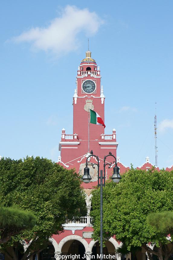 Clock tower of the Palacio Municipal or Municipal Palace in Merida, Yucatan, Mexcio