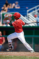 Batavia Muckdogs catcher Pablo Garcia (4) at bat during a game against the State College Spikes on July 8, 2018 at Dwyer Stadium in Batavia, New York.  Batavia defeated State College 8-3.  (Mike Janes/Four Seam Images)