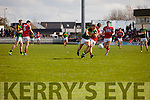 Barry John Keane Kerry in action against Kevin Crowley Cork in the National Football league in Austin Stack Park, Tralee on Sunday.