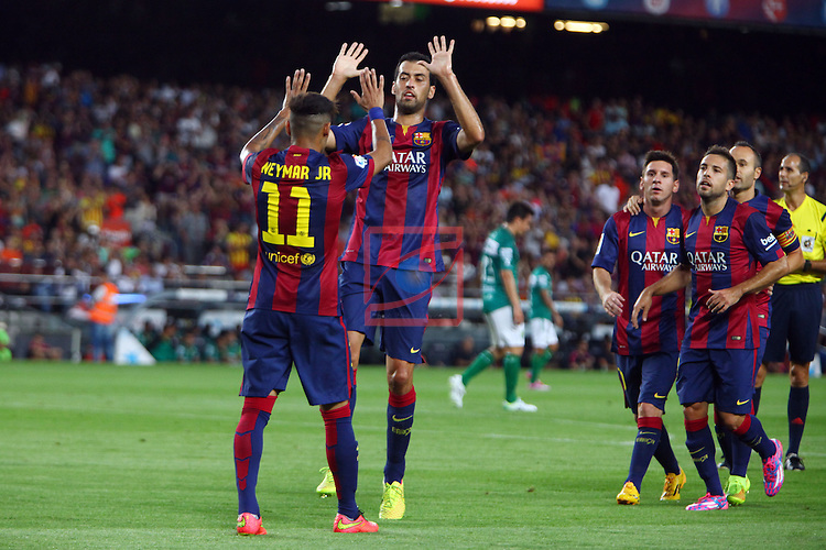 49e Trofeu Joan Gamper.<br /> FC Barcelona vs Club Leon FC: 6-0.<br /> Neymar Jr. &amp; Sergio Busquets.