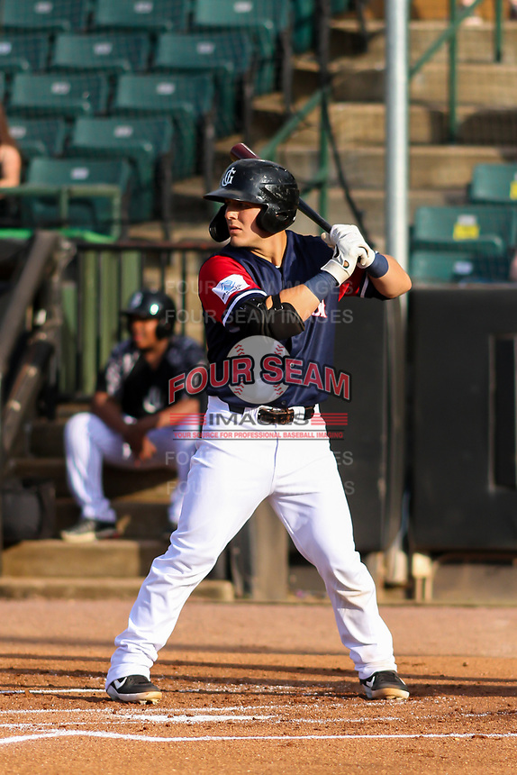 Jackson Generals catcher Daulton Varsho (5) at bat during a Southern League game against the Biloxi Shuckers on June 14, 2019 at The Ballpark at Jackson in Jackson, Tennessee. Jackson defeated Biloxi 4-3. (Brad Krause/Four Seam Images)