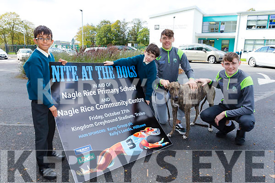 Nagle Rice, Milltown primary school and Miltown Community centre   launch 'Nite at the Dogs fundraising for new Astro Turf pitch for school on Friday October 27th. Pictured Kerry Minors  David Clifford  and Diarmuid O'Connor with students  Prasad Balkerishna and jack O'Connor