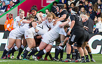 Harriet Millar-Mills in action at a maul, England Women v New Zealand Women in an Old Mutual Wealth Series, Autumn International match at Twickenham Stoop, Twickenham, England, on 19th November 2016. Full Time score 20-25