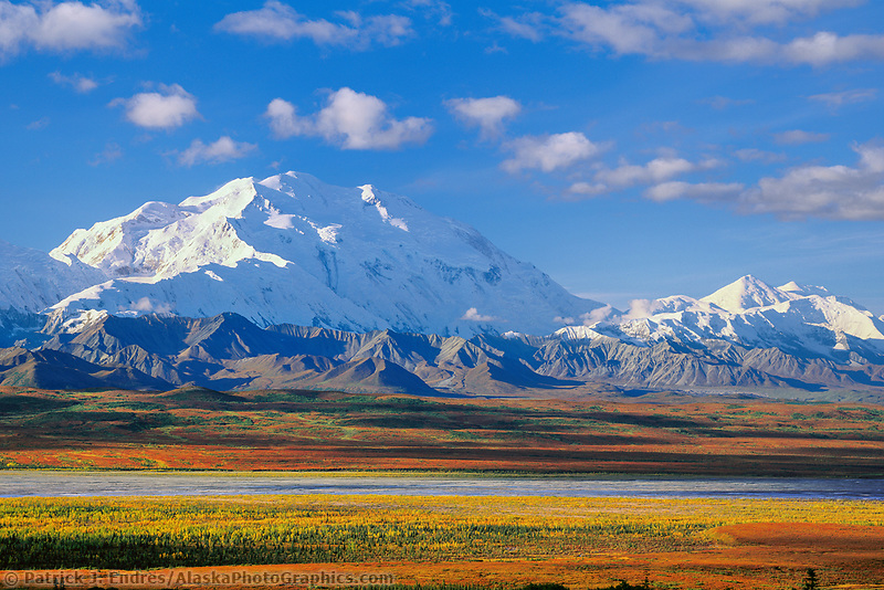 North Face Of 20, 3020+ Ft. Mt. Denali and Mt. Foraker. Autumn tundra And Mckinley River Bar, Denali National Park, Alaska.