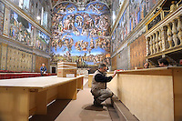 Sistine Chapel, you work in preparation for the conclave  Vatican Palace,March 9, 2013