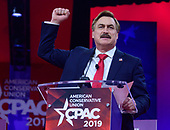 Mike Lindell, inventor and CEO of My Pillow, Inc. speaks at the Conservative Political Action Conference (CPAC) at the Gaylord National Resort and Convention Center in National Harbor, Maryland on Thursday, February 28, 2019.<br /> Credit: Ron Sachs / CNP