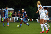 Kansas City, MO - Saturday May 28, 2016: Orlando Pride midfielder Lianne Sanderson (10) moves the ball against FC Kansas City during a regular season National Women's Soccer League (NWSL) match at Swope Soccer Village.