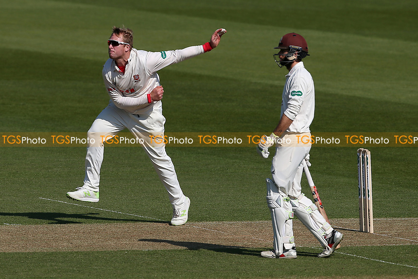Simon Harmer in bowling action for Essex during Surrey CCC vs Essex CCC, Specsavers County Championship Division 1 Cricket at the Kia Oval on 11th April 2019