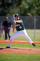Dartmouth Big Green starting pitcher Beau Sulser (10) delivers a pitch during a game against the Eastern Michigan Eagles on February 25, 2017 at North Charlotte Regional Park in Port Charlotte, Florida.  Dartmouth defeated Eastern Michigan 8-4.  (Mike Janes/Four Seam Images)